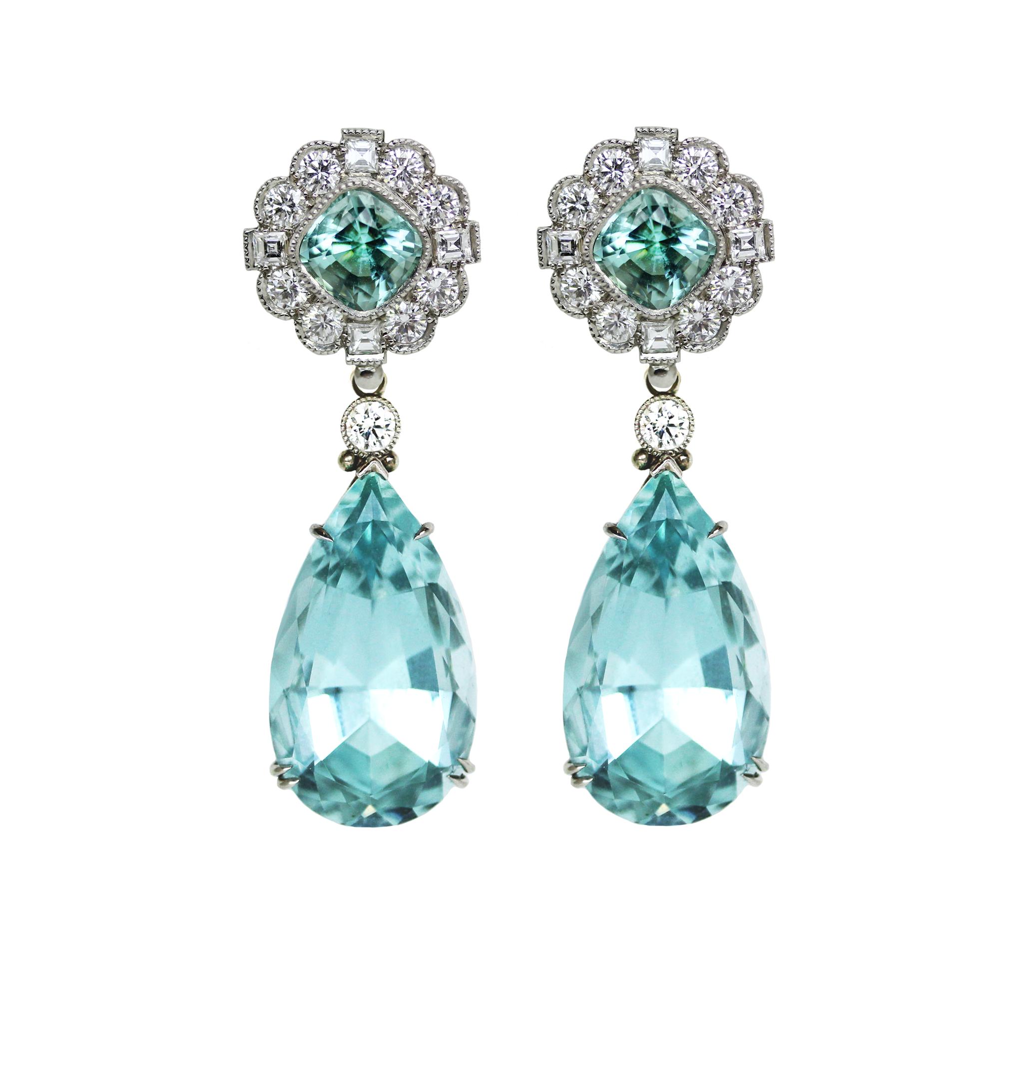 Tourmaline Amp Aquamarine Earrings Featherstone Design