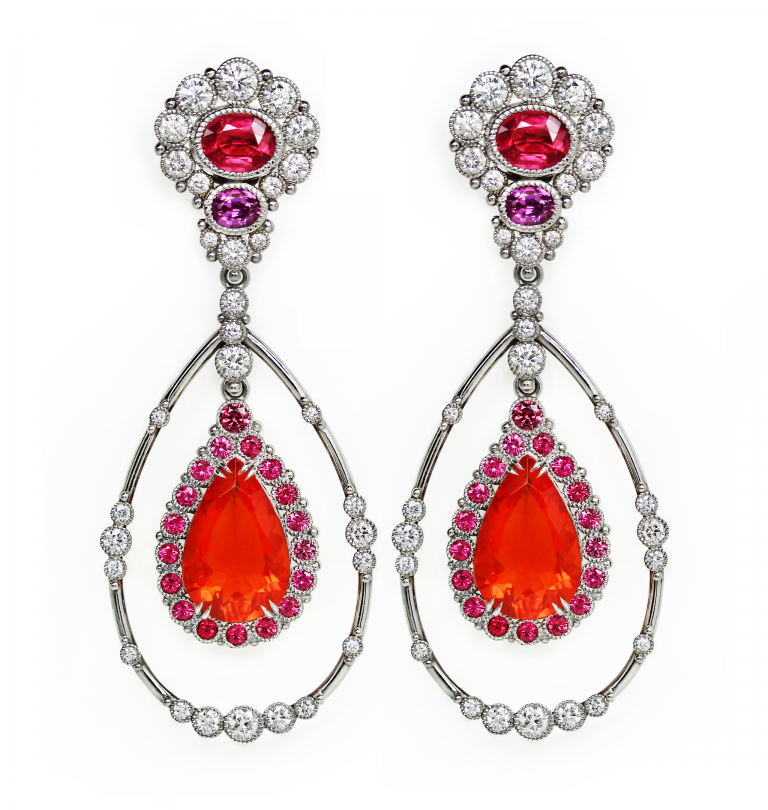 Fire Opal Halo Earrings