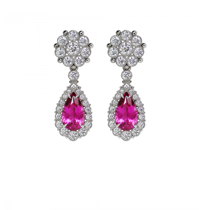 Rubellite ball flower earrings