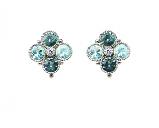 Blue Clover Earrings