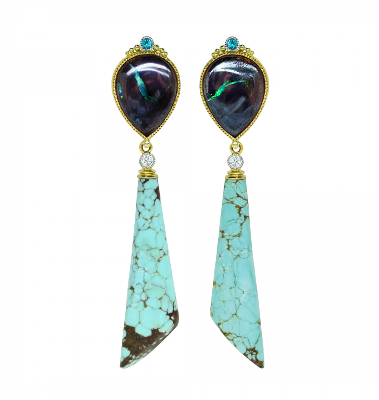 Gold Opal and Turquoise Earrings