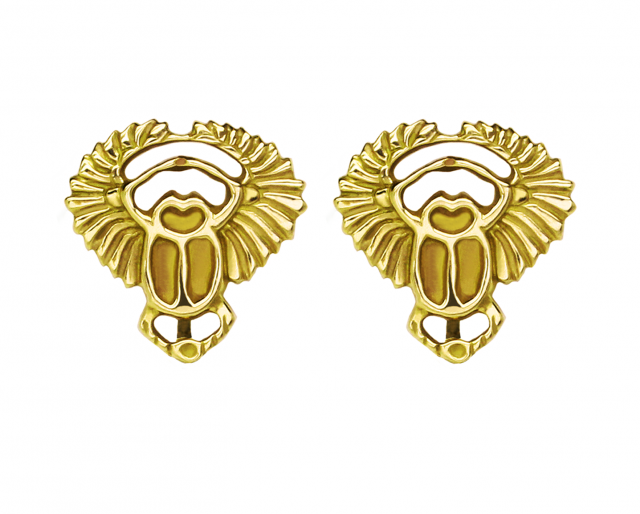 Gold Scarab Studs