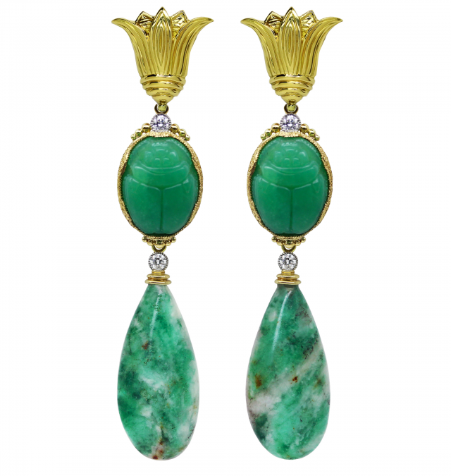Lotus with Emerald Earrings