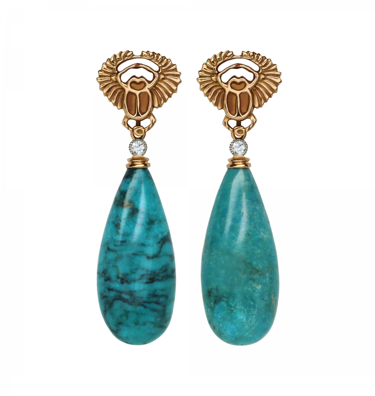Rose Gold Scarab with Turquoise Earrings