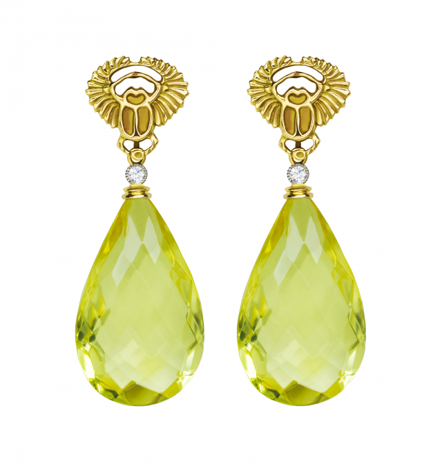 Scarab and Yellow Amber Earrings